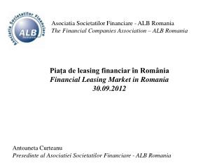 Asociatia Societatilor Financiare  - ALB  Romania
