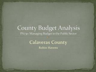 County Budget Analysis  PA730: Managing Budget in the Public Sector