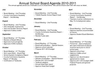 Annual School Board Agenda 2010-2011