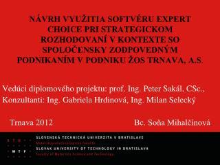 Vedúci  diplomov ého projektu: prof. Ing. Peter Sakál, CSc.,