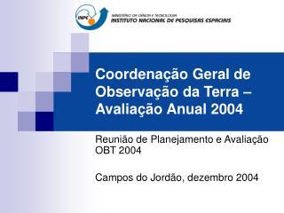 Coordenação Geral de Observação da Terra – Avaliação Anual 2004