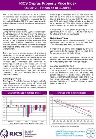 RICS Cyprus Property Price Index  Q3  201 2 – Prices as at 30/09/12