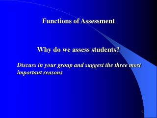 Functions of Assessment