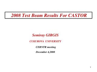 2008 Test Beam Results For CASTOR