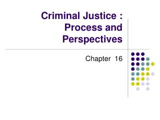 Criminal Justice : Process and Perspectives