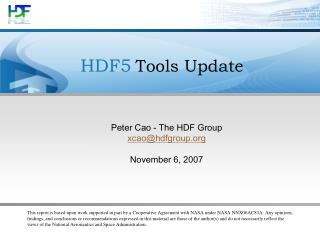 HDF5 Tools Update