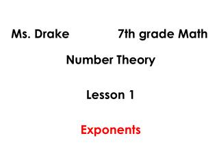 Ms. Drake              7th grade Math