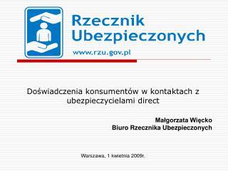 Doświadczenia konsumentów w kontaktach z ubezpieczycielami direct Małgorzata Więcko