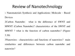 Review of Nanotechnology