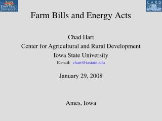 Farm Bills and Energy Acts