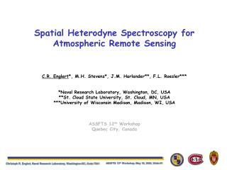 Spatial Heterodyne Spectroscopy for Atmospheric Remote Sensing