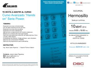 "TE INVITA A ASISTIR AL CURSO Curso Avanzado ""Hands on"" Serie Power."