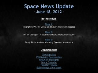 Space News Update - June 18, 2012 -