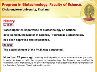 Program in Biotechnology ,  Faculty of Science , Chulalongkorn University, Thailand