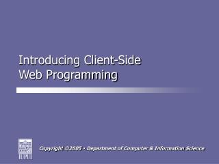 Introducing Client-Side Web Programming