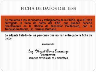 FICHA DE DATOS DEL IESS