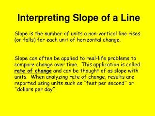 Interpreting Slope of a Line