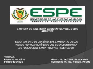 CARRERA DE INGENIERÍA GEOGRÁFICA Y DEL MEDIO AMBIENTE