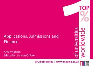 Applications, Admissions and  Finance Amy Wigham  Education Liaison Officer