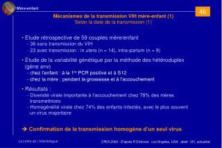 Mécanismes de la transmission VIH mère-enfant (1) Selon la date de la transmission (1)