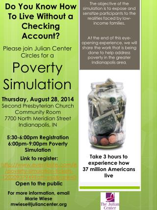 Please join Julian Center Circles for a  Poverty Simulation