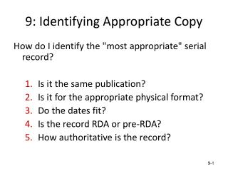 9: Identifying Appropriate Copy