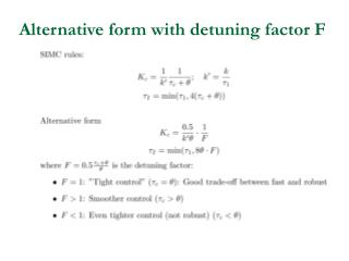 Alternative form with detuning factor F