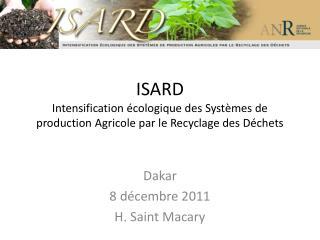 ISARD Intensification écologique des Systèmes de production Agricole par le Recyclage des Déchets