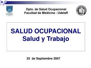 SALUD OCUPACIONAL  Salud y Trabajo