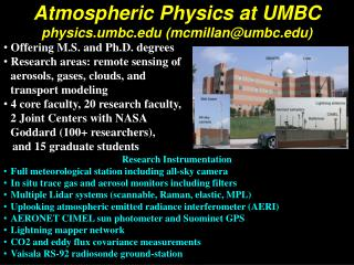 Atmospheric Physics at UMBC physics.umbc mcmillanumbc