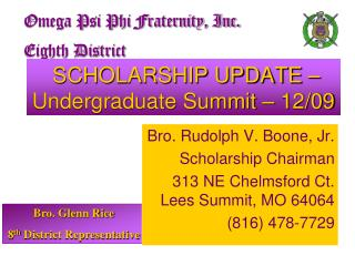 SCHOLARSHIP UPDATE – Undergraduate Summit – 12/09