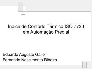 Índice de Conforto Térmico ISO 7730 em Automação Predial