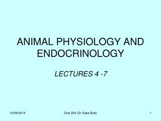 ANIMAL PHYSIOLOGY AND ENDOCRINOLOGY