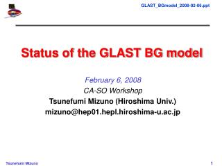Status of the GLAST BG model