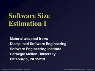 Software Size Estimation I