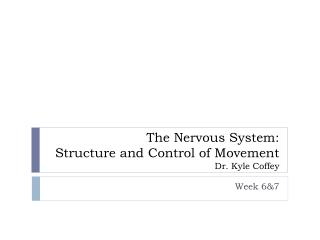 The Nervous System: Structure and Control of Movement Dr. Kyle Coffey