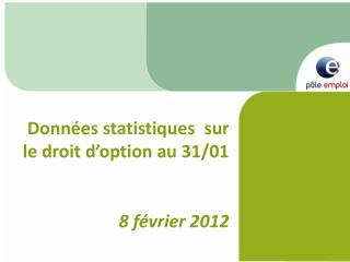 Données statistiques  sur le droit d'option au 31/01  8 février 2012