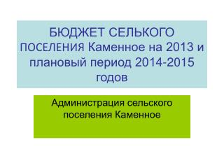 БЮДЖЕТ СЕЛЬКОГО  ПОСЕЛЕНИЯ  Каменное на 2013 и плановый период 2014-2015 годов