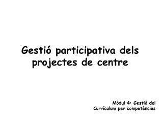 Gestió participativa dels projectes de centre
