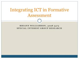 Integrating ICT in Formative Assessment
