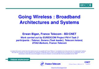 Going Wireless : Broadband Architectures and Systems