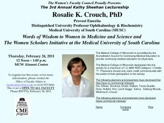 The Women's Faculty Council Proudly Presents: The 3rd Annual Kathy Sheehan Lectureship