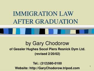 IMMIGRATION LAW AFTER GRADUATION