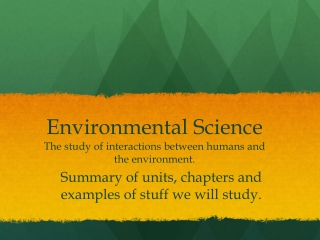 Unit 6: Agriculture and Environmental Science