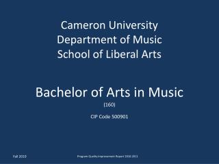 Cameron University Department of Music School of Liberal Arts