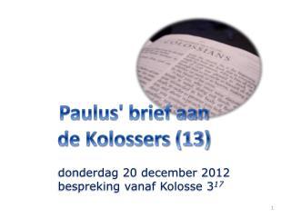 Paulus' brief aan de Kolossers (13)