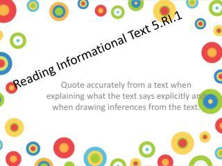 Reading Informational Text 5.RI.1