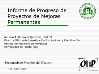 Informe de Progreso de Proyectos de Mejoras Permanentes