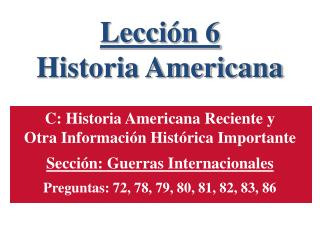 Lección 6 Historia Americana