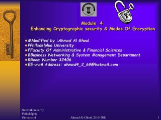 Module  4  Enhancing Cryptographic security & Modes Of Encryption